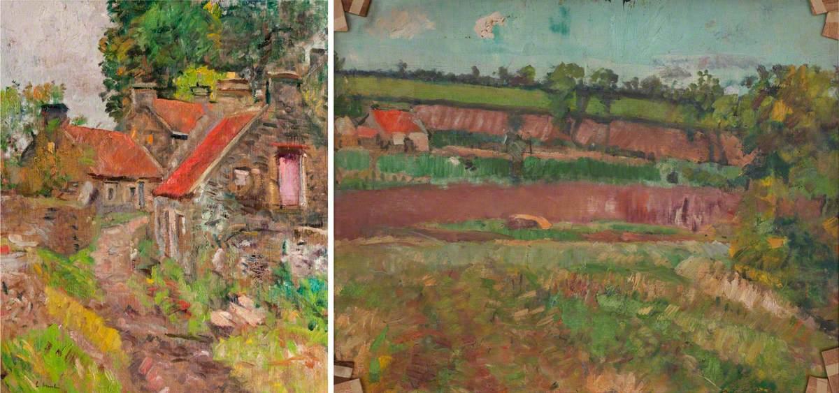 Hunter, George Leslie, 1879-1931; Ceres Mill, Fife (recto), Fife Landscape (verso)