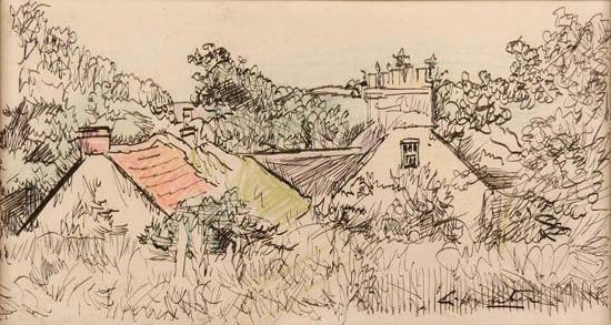 George Leslie Hunter. Cottages, Ceres.