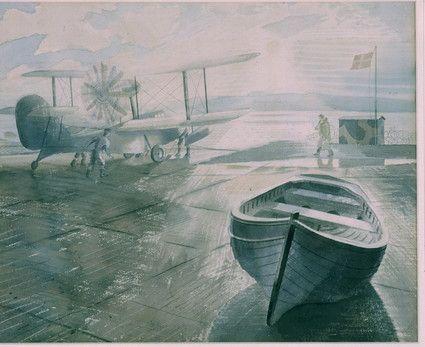 Raviious Walrus and dinghy. 1941