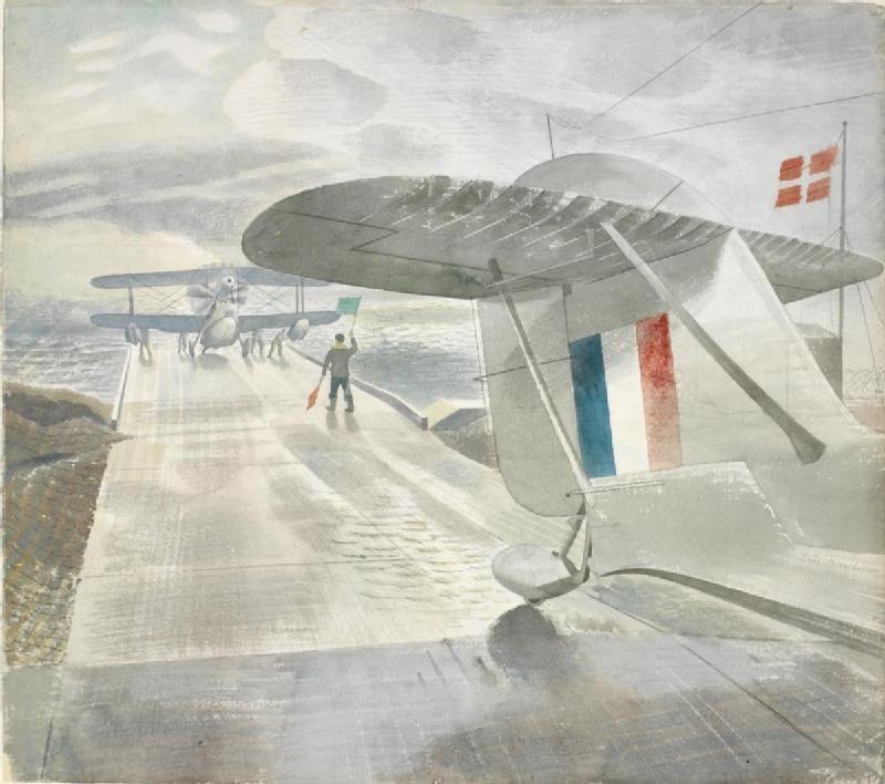 Ravilious Walrus aircraft on the slipway 1941